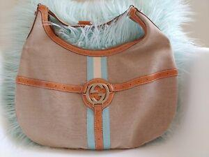 Gucci-Canvas-Web-Reins-Hobo-Tan-amp-Blue-Purse-114871-EUC-Shoulder-Bag-GG
