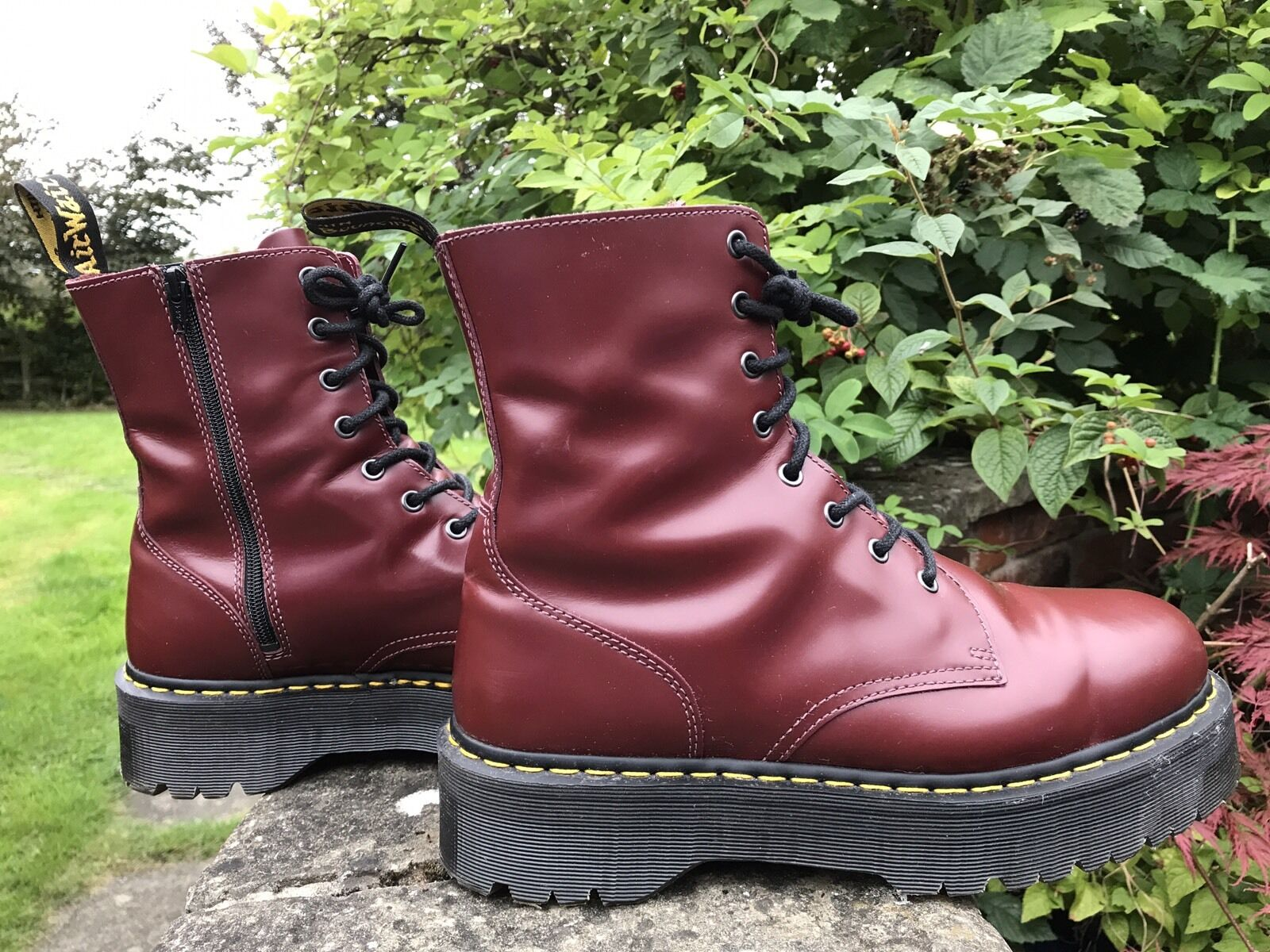 Dr Martens Jadon Jadon Jadon Aggy Cherry rot Leather  Double Chunky Sole Stiefel UK 12 EU 47 415cd5