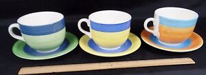 SET OF 3 TRE CI POTTERY MADE IN ITALY HANDPAINTED COFFEE MUGS SOUP ...