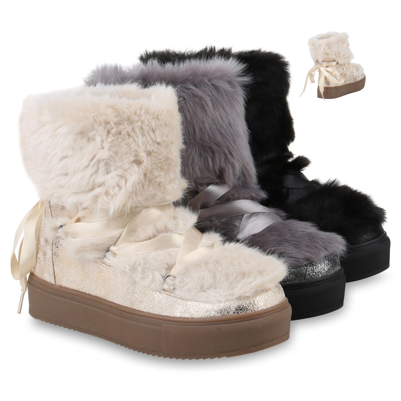 Damen Stiefeletten Schlupfstiefel Leicht Gefüttert Plateau Boots 820351 Schuhe