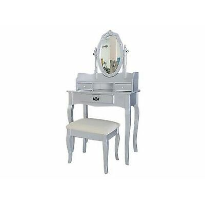 Lumberton Dressing Table, Stool and Mirror Set - Silver - Antique Style Design