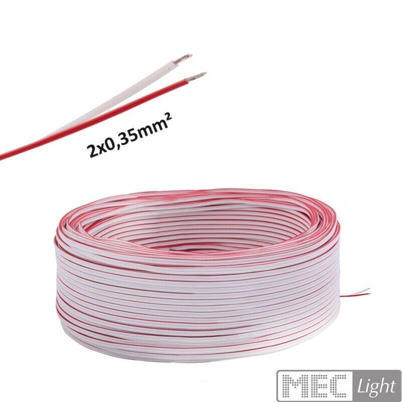 (  m)5-100m LED Kabel Zwillingslitze 2x 0,35mm² weiß rot 2-adrig