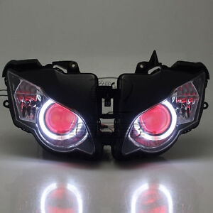 Assembly-Headlight-HID-Red-Demon-Angel-Eye-Projector-for-Honda-CBR1000-2008-2011
