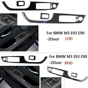 Carbon-Fiber-Window-Lift-Switch-Button-Panel-Cover-Trim-for-BMW-M3-E93-E90-2Door