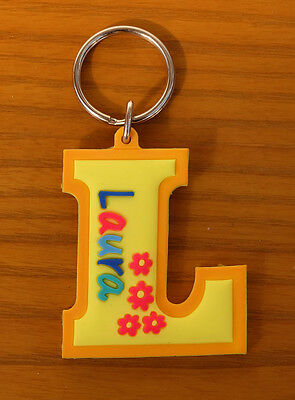 Orange Laura Candid Rubber Name Key Fob Key Ring Yellow L Shape Providing Amenities For The People; Making Life Easier For The Population