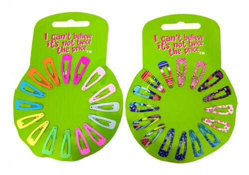 2 cartes Bic 36 Mixte Mini Pinces à Cheveux Poignées Slides Snap on Pinces