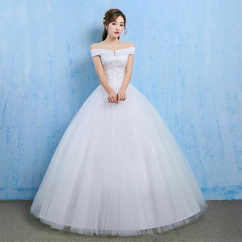 Wedding Long Crystal Dresses Pearls Off Shoulder Sleeveless Lace Up Pleat Empire