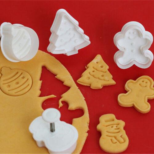 4 Stück Weihnachts-Plätzchen Form Ausstechform Backstempel Backform Keks Gebäck