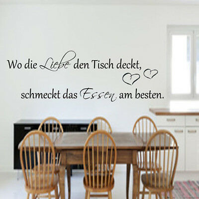 Wandtattoo Kuche Wo Die Liebe Den Tisch Deckt Esszimmer Wand Tattoo Spruch Ebay