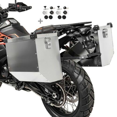 Motorrad Alukoffer Set Atlas 41l mit Anbausatz für Kofferträger 16mm