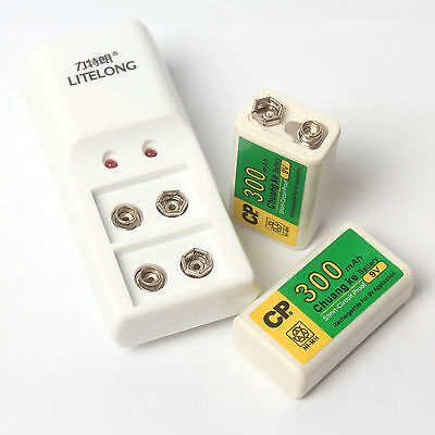 2 Pcs 300mAh 9V BTY NI-MH Rechargeable Battery + 2 Slot 9V Charger