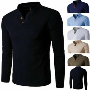 Fashion-Men-Stylish-Long-Sleeve-Shirt-V-neck-Casual-Slim-Tee-Shirt