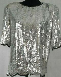 Womens-Sz-Lg-Short-Sleeve-Silver-Silk-Sequined-Holiday-Cocktail-Party-Blouse