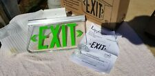 Hubbell Lescsgdna Edge Lit Exit Sign Green 120 277vac Ceiling Mount Dual Lite