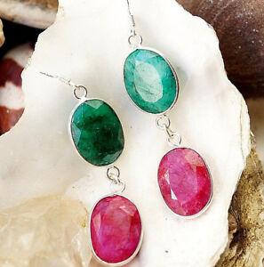 Smaragd-Rubin-Ohrhaenger-6-cm-Lang-Silber-Handarbeit-Modern-Schlicht-Gruen-Pink