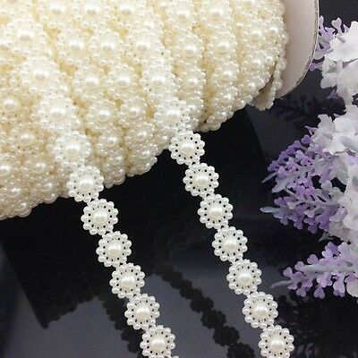 5Yards Semi-cirle Sunflowers Simulated-pearl Plastic Chain beads DIY Accessory