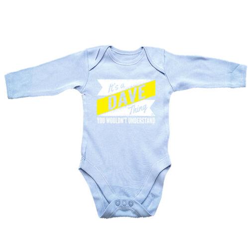 Funny Baby Infants Babygrow Romper Jumpsuit V2 Dave Thing Surname