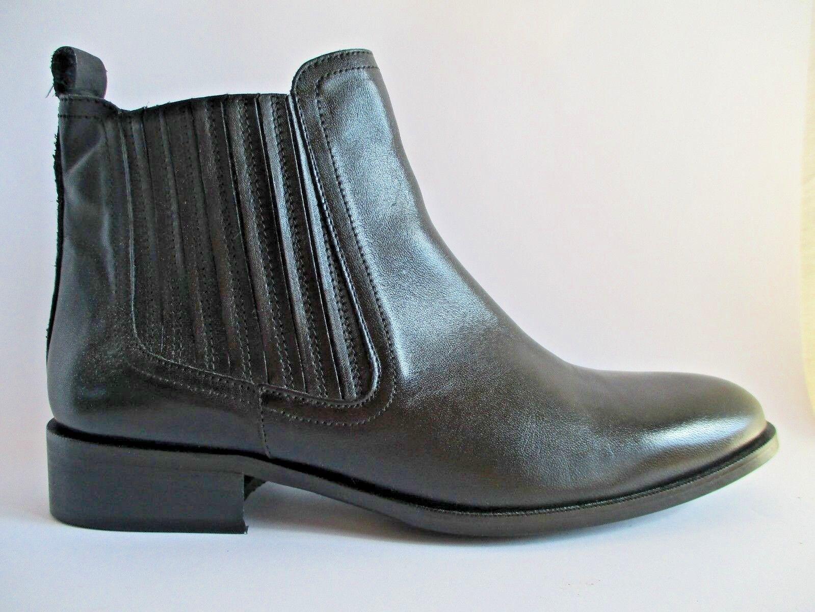 ZIGN Klassische Halbschuhe Ankle Chelsea Boot Leder Schwarz Gr.42  C14