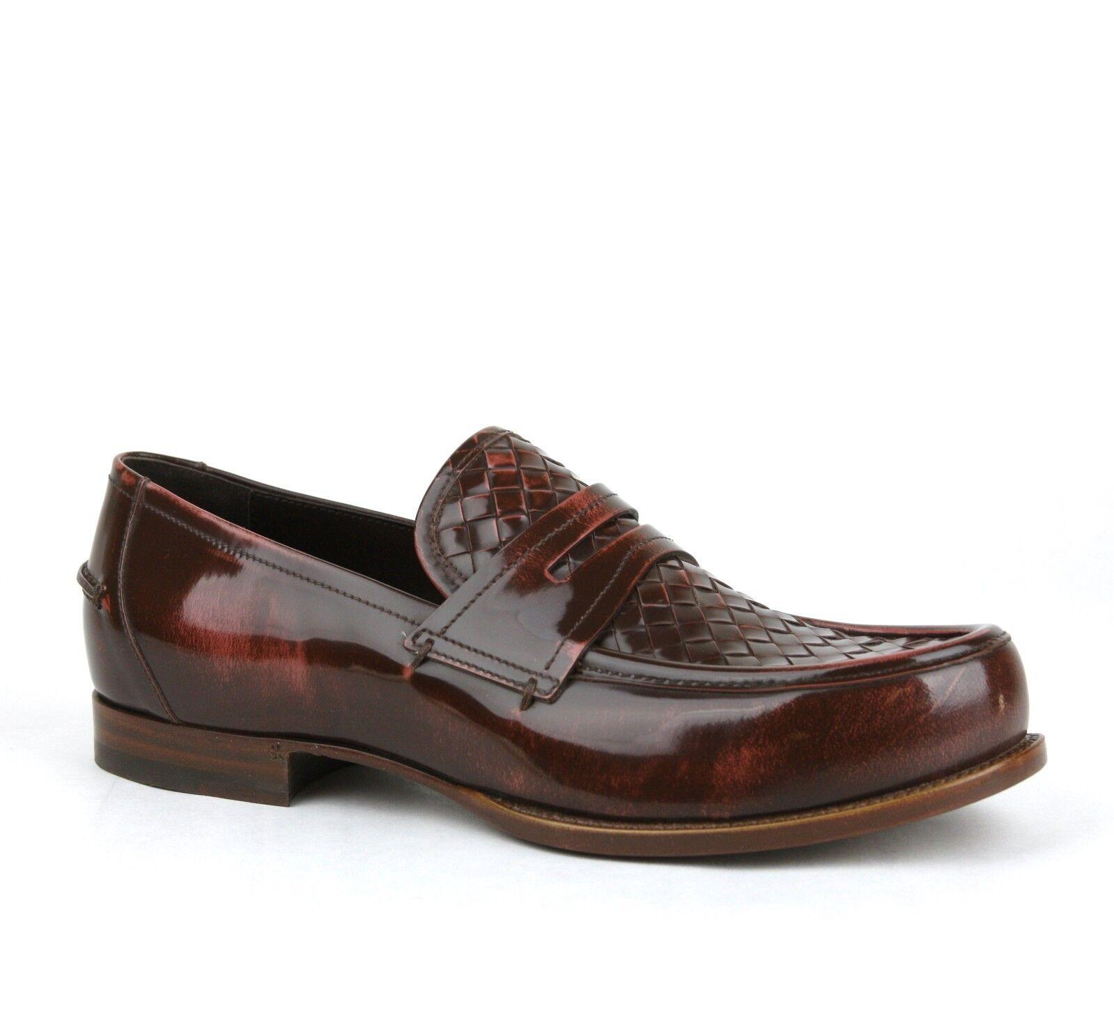 790 New Bottega Veneta Mens Leather Woven Loafer Dress shoes 298734 6323