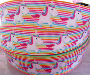 UNICORN-stripes-Grosgrain-Ribbon-1-034-Scrap-Cake-Clips-Cards-Craft-2-yds-5-yds