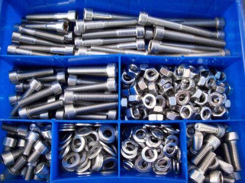 Assortiment encadré 385 pièces en acier inoxydable vis et écrous Starter Set DIN 912