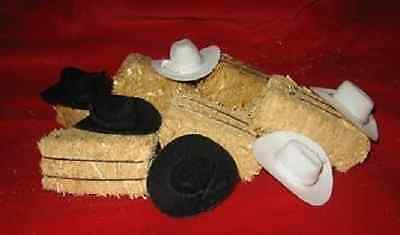 Western Wedding Party Favors (24) Mini Cowboy Hats & Real Mini Hay Crafts