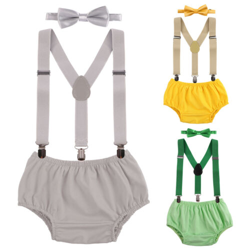 1st Birthday Boy Cake Smash Outfit Bloomers Bowtie Suspenders Photo Prop Costume