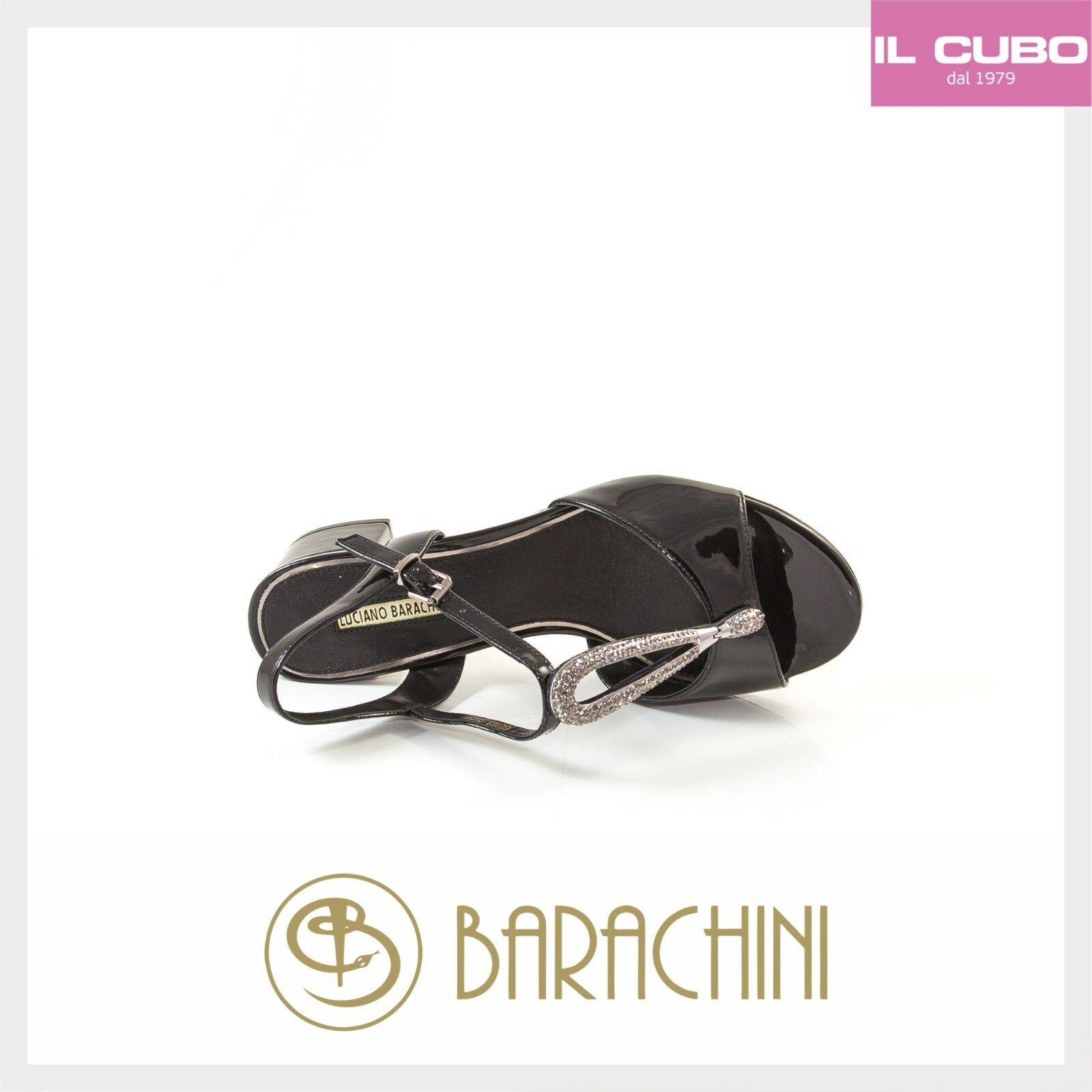 LUCIANO BARACHINI SANDALO  VERNICE NERO TACCO H 4 CM  SANDALO NEW COLLECTION 7fd5fa