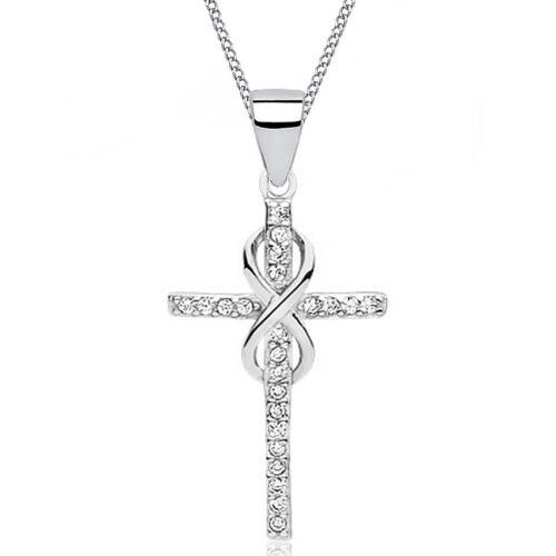 Damen Zirkonia Kreuz Unendlichkeit Anhänger Kette 925 Silber крестик серебряный