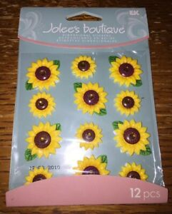 SUNFLOWERS CABOCHONS Jolee/'s Boutique Dimensional Stickers NEW!