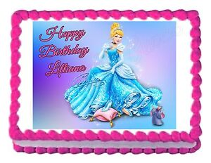 Brilliant Cinderella Party Decoration Edible Birthday Cake Image Cake Topper Funny Birthday Cards Online Overcheapnameinfo