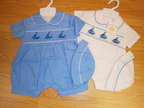 Spanish Style Baby Boy Smocked Romper and Hat Set by Mabini