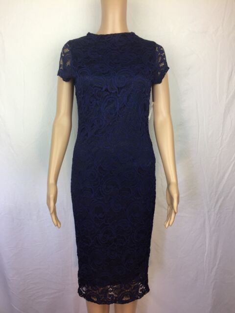 58fb61d16844 NEW Women's Windsor Dress Black w Dark Blue Lace Overlay Size Large Fits  Like S