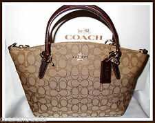 NWT Coach Signature Small Leather Trim Kelsey Bag Satchel Brown '17 w/ RECEIPT