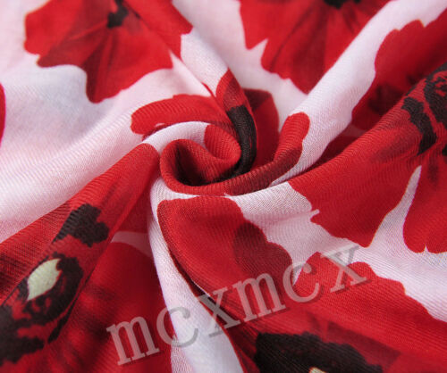 Top Quality Red Big Poppy Print Floral Thick Scarf Wrap Sarong Long Soft Warm UK