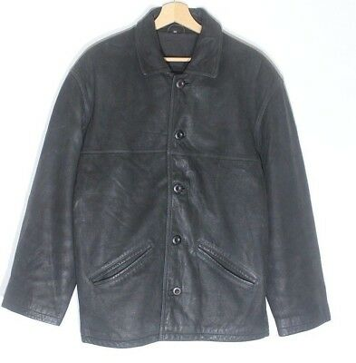 Men's Vintage Trapper Biker Hip Lunghezza Nero 100% Real Leather Jacket Coat M/l-mostra Il Titolo Originale Ricco E Magnifico