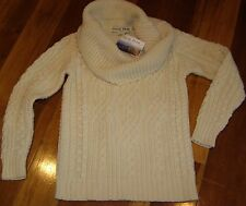 NEW Aran Mor Womens Small Irish Knit 100% Wool Sweater Cream Off White Cowl Neck