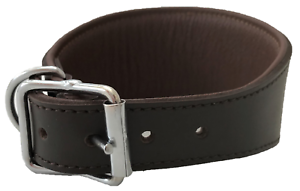 HAND-MADE-BROWN-PADDED-LEATHER-LURCHER-GREYHOUND-DOG-COLLAR-SOFT-LINED