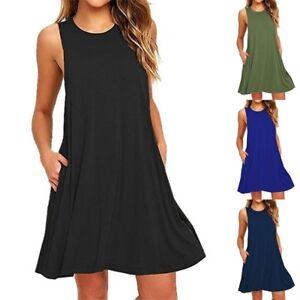Womens-Ladies-Sleeveless-Swing-Summer-Beach-Dress-Flared-A-Line-Skater-Dress