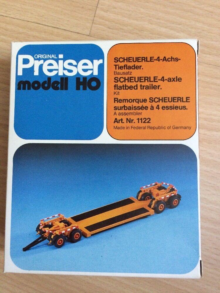 Preiser Bausatz H0 1122, Scheuerle-4-Achs-Tieflader, neu, OVP  | Roman