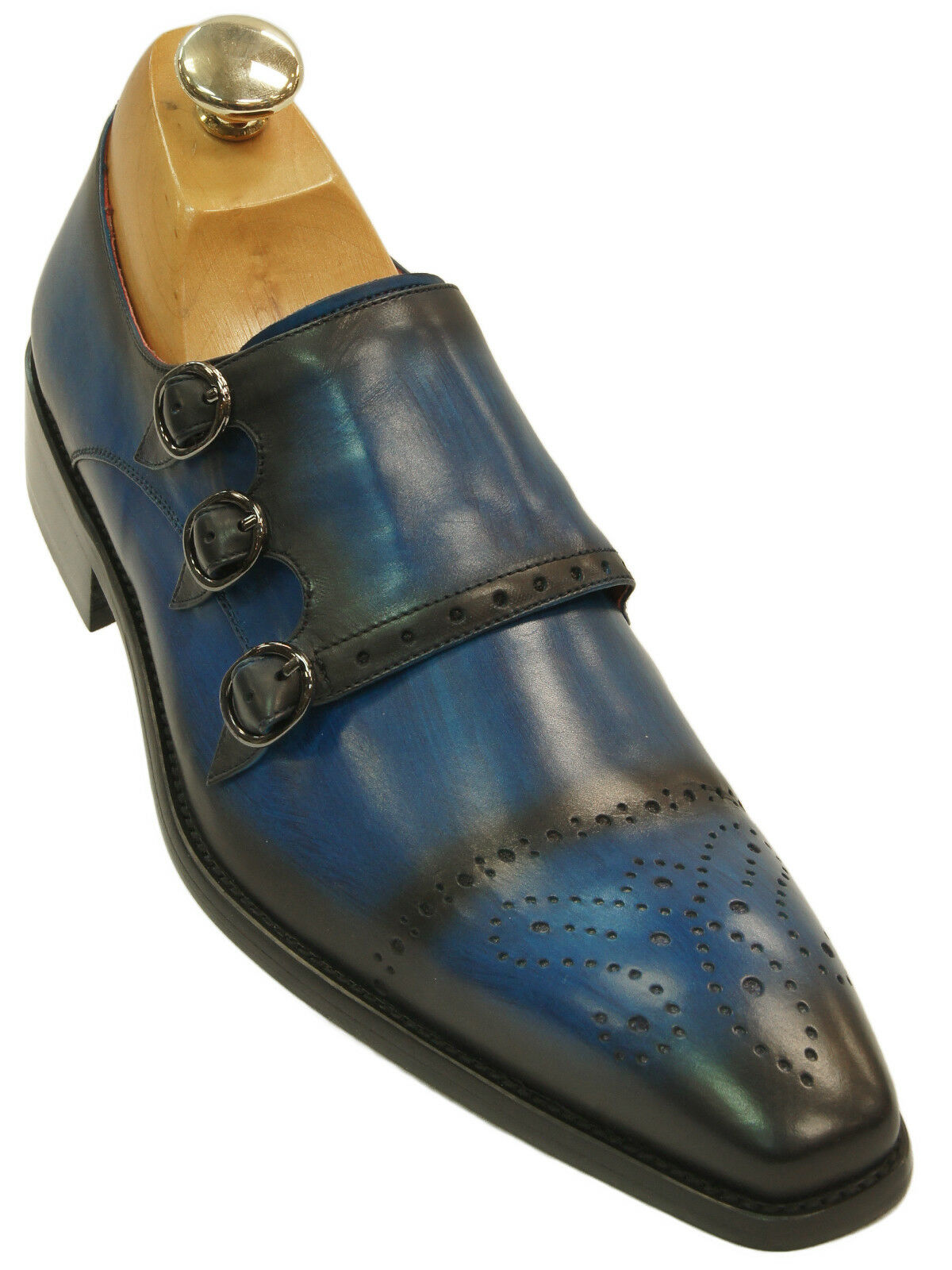 Fiesso Mens bluee Black Gradient Leather Wing Tip Triple Monk Strap new shoes shoes