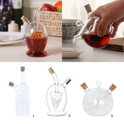 2 Outlets Clear Glass Olive Oil Dispenser Jar Vinegar Bottle Kitchen Cruet Sauce
