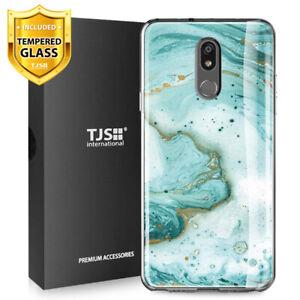 For-LG-Stylo-5-5V-5-Plus-Phone-Case-TJS-Juno-Green-Marble-Tempered-Glass