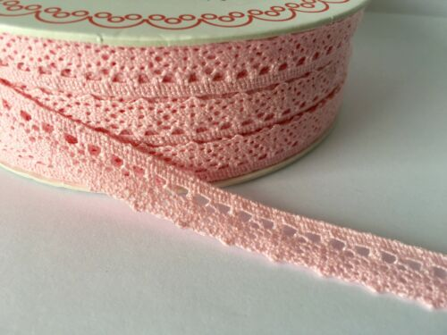 Baby Pink Cotton Scalloped Edge Lace Trim 10mm