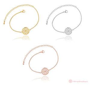 Armband-Damen-Blume-des-Lebens-Mandala-Symbol-Gold-Silber-Rosegold-Edelstahl-NEU