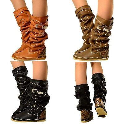 Damen Indianer Stiefel Ibiza Boots MADE IN ITALY Echtleder KIKKILINE Bohemian El