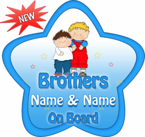 Personalised Brothers Blue//Red Star Shaped Baby On Board Car Sign ~ New!