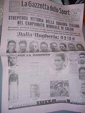 GAZZETTA DELLO SPORT 20-06-1938 ITALIA CAMPIONE DEL MONDO 1938 ITALIA-UNGHERIA