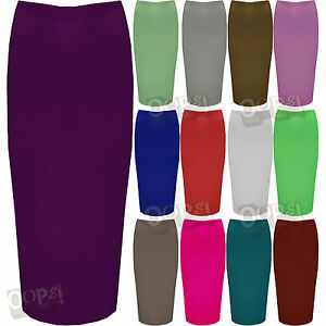 Ladies-Double-Layer-Womens-Stretchy-Long-Pencil-Bodycon-Tube-Office-Midi-Skirt