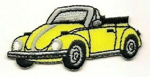Yellow Convertible Beetle Vehicle Car Facing left Embroidered Patch